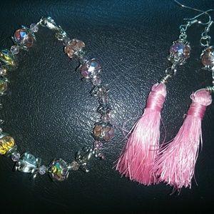 Crystal Earrings and Tassle Bracelet Set